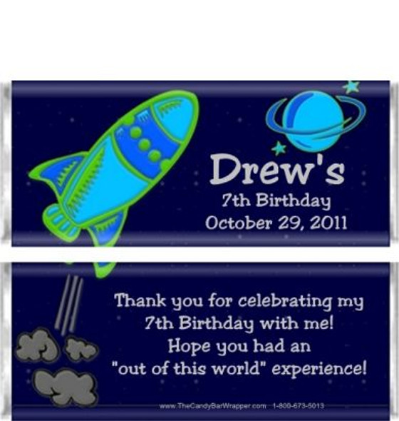 Astronaut Birthday Candy Wrappers Sample
