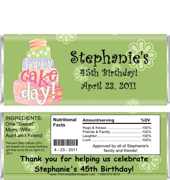 Colorful Cake Adult Birthday Candy Wrapper