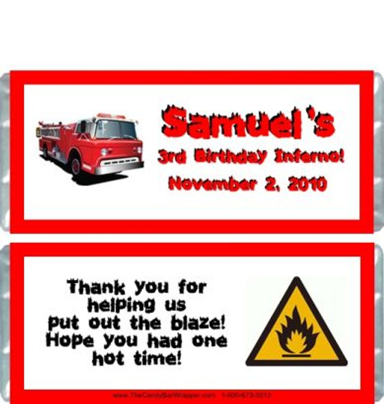 Firetruck Candy Wrappers Sample