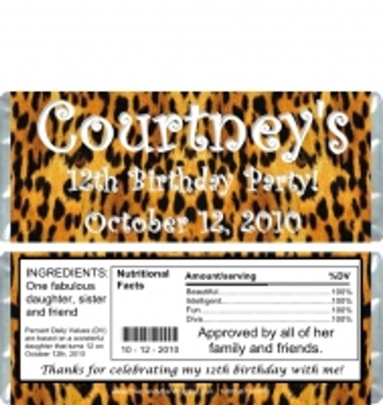 Leopard Candy Bar Wrappers Sample