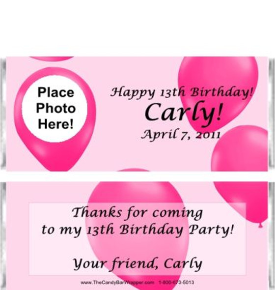 Pink Balloons Candy Bar Wrappers Sample