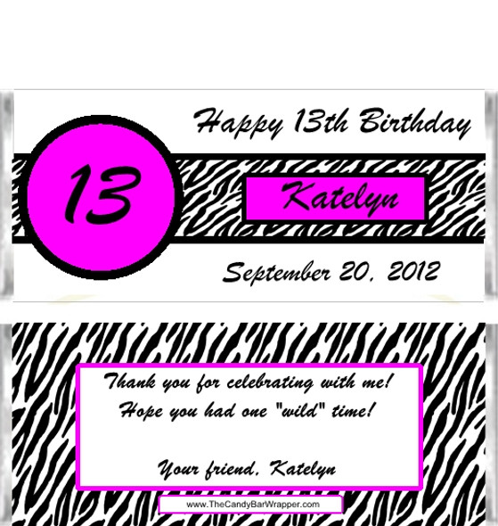 Zebra Birthday Candy Wrappers