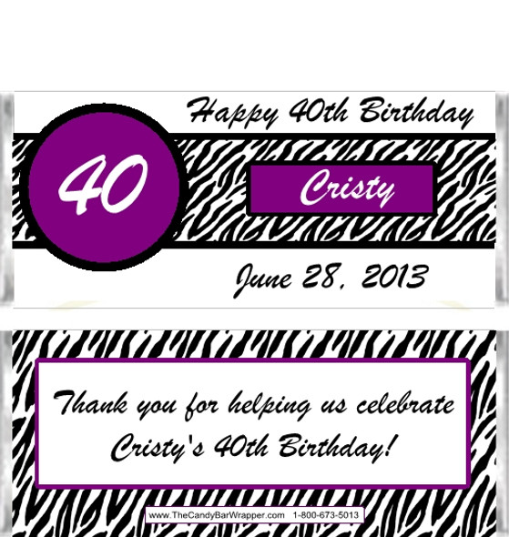 Zebra Birthday Candy Wrappers 2