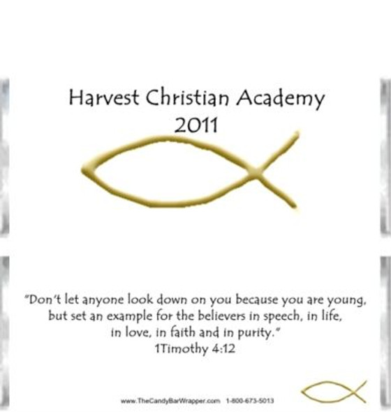 Gold Christian Fish Candy Bar Wrappers Sample