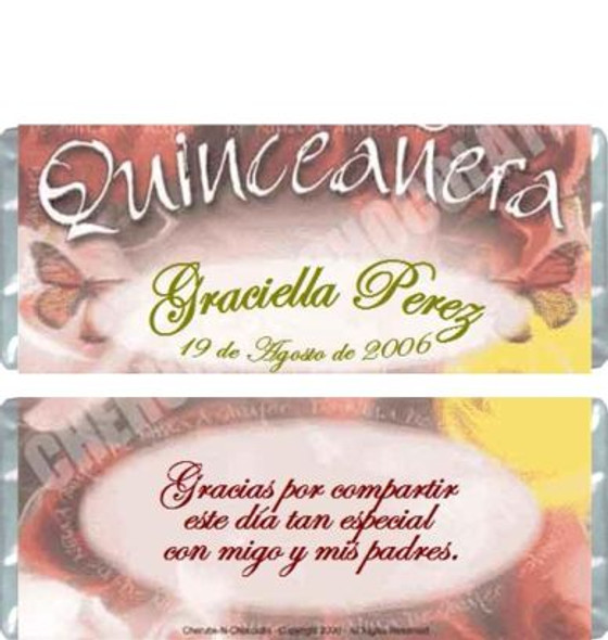 Quinceanera Candy Wrappers Sample