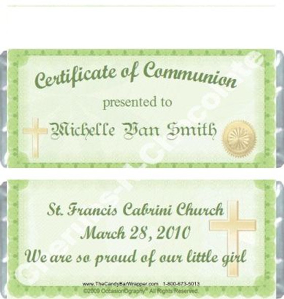 Religious Certificate Candy Wrappers Sample