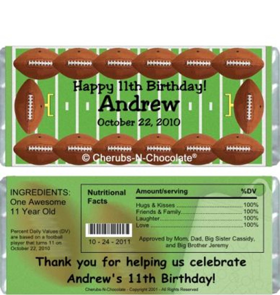 Football Candy Wrappers Sample