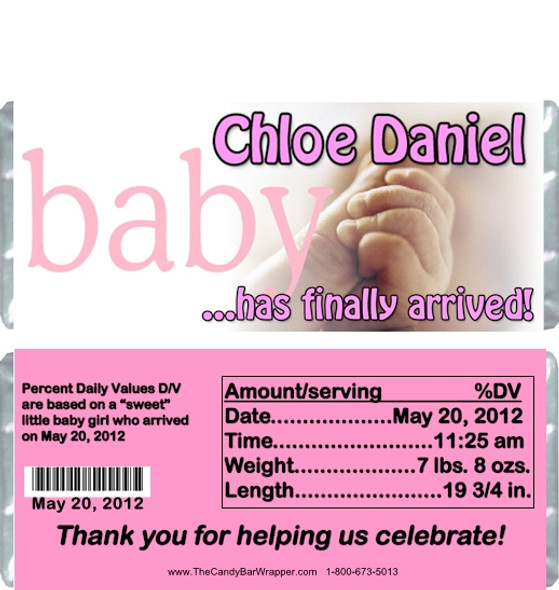 Hands Birth Announcement Candy Wrappers
