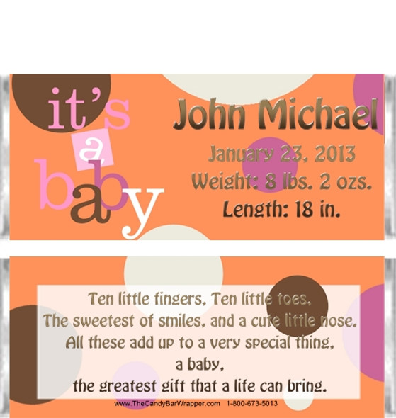 Polka Dot Baby Candy Bar Wrappers Sample