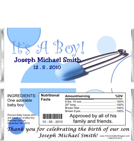 It's a Boy Candy Bar Wrappers Sample