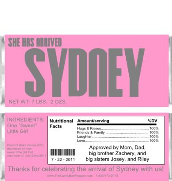 She Has Arrived Candy Wrappers Sample