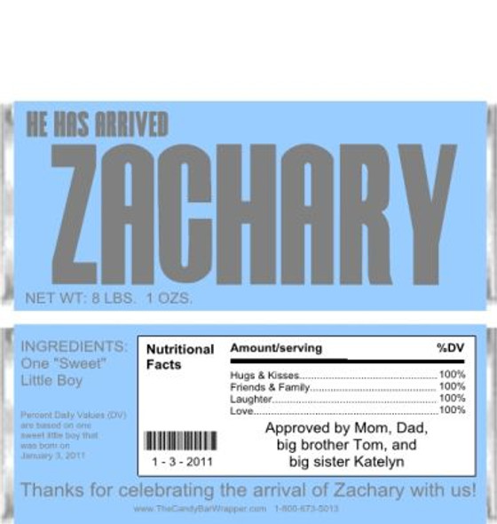 He Has Arrived Candy Wrappers Sample