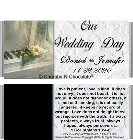 White Wedding Candy Bar Wrapper