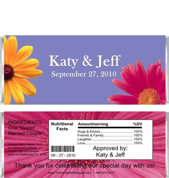 Flowers Candy Bar Wrappers Sample