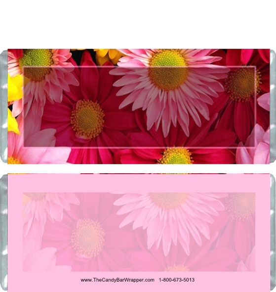 Pink Daisies Candy Bar Wrappers
