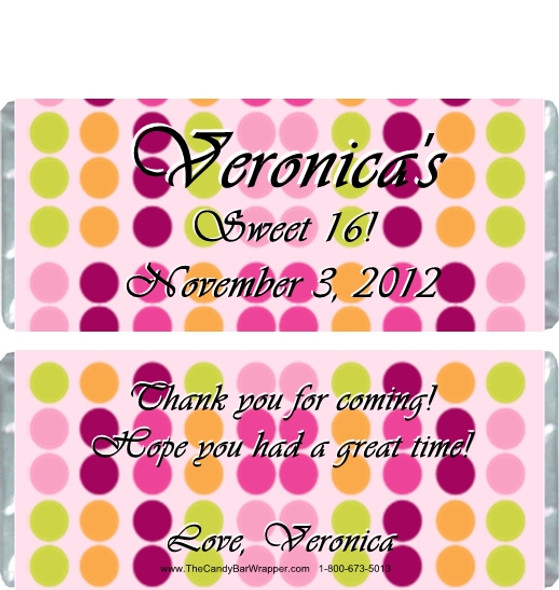 Colorful Polka Dot Candy Bar Wrappers Sample