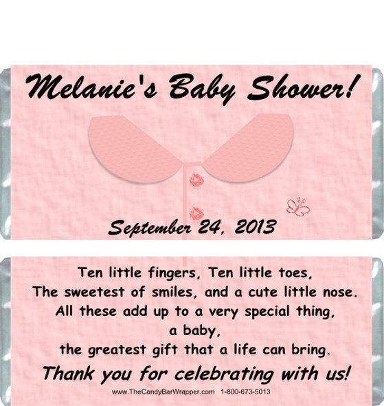 Pink Outfit Baby Shower Candy Wrapper Sample