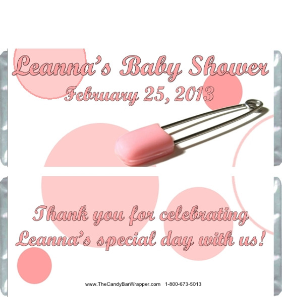 Pink Safety Pin Baby Shower Candy Wrappers