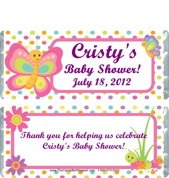 Butterfly Polka Dot Baby Shower Candy Wrappers