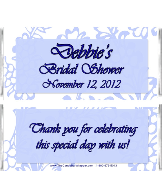 Blue Flowers Bridal Shower Candy Bar Wrappers