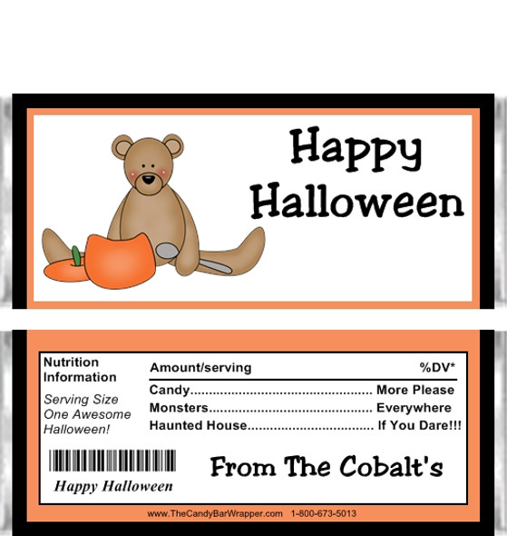 Halloween Teddy Bear Candy Wrappers