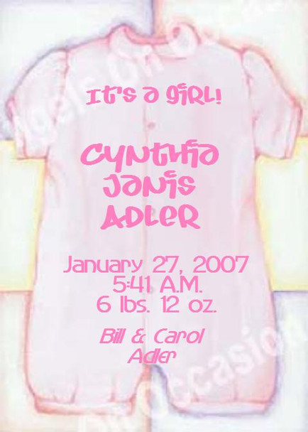 Baby Girl Announcements Sample