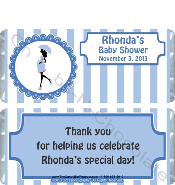 Blue Stripe Baby Shower Candy Wrappers