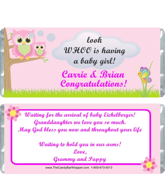 Owl Pink Baby Shower Candy Wrappers