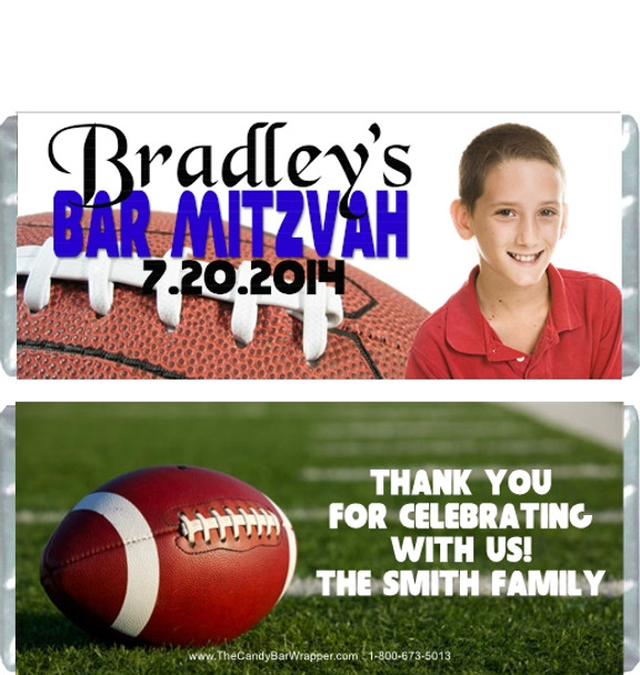 Football Bar Mitzvah Candy Wrappers