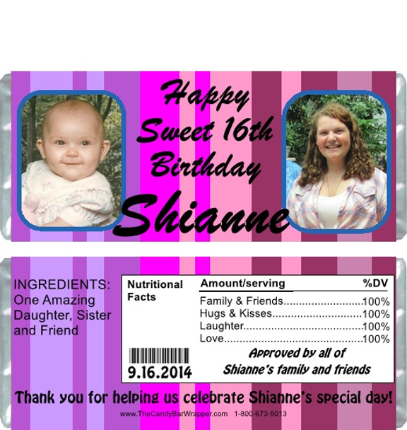 Sweet Sixteen Birthday Candy Wrappers