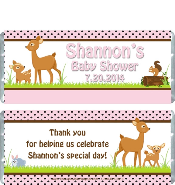 Forest Animals Pink Baby Shower Candy Wrappers