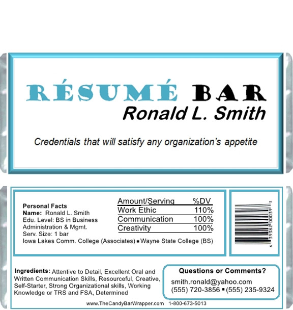 Resume Bar Candy Wrappers