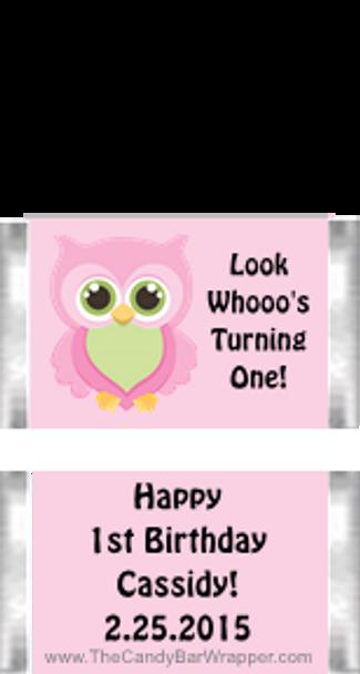 Owl First Birthday Girl Mini Candy Bars
