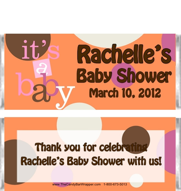 Polka Dot Baby Shower Candy Wrapper