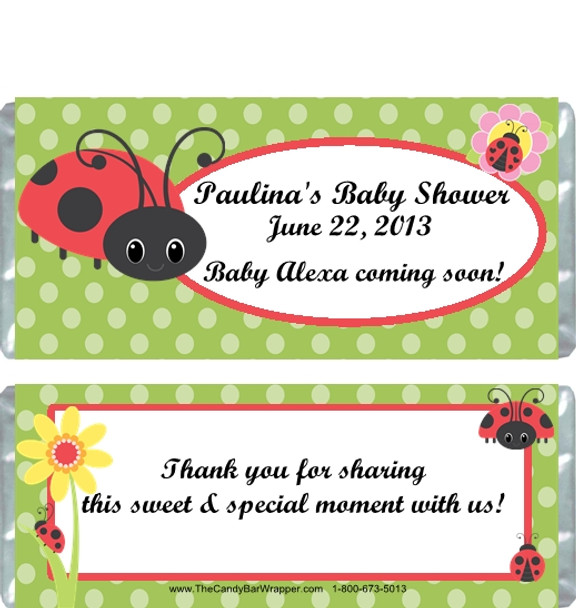 Ladybug Baby Shower Candy Bar Wrappers