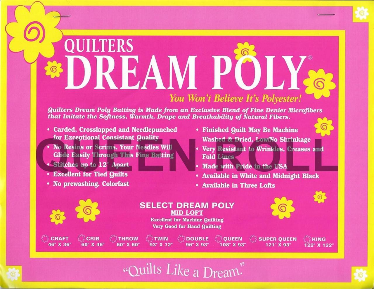 "Quilter/'s Dream Poly Black Mid Loft King 122/"" x 122/"" Quilt Batting"