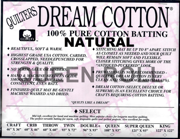 "Dream Cotton Natural - Queen Roll (Select Wt.) - 93"" x 30yds"