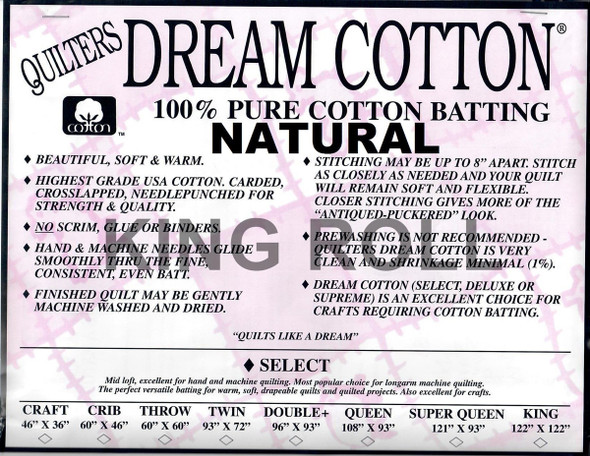 "Dream Cotton Natural - King Roll (Select Wt.) - 120"" x 30yds"
