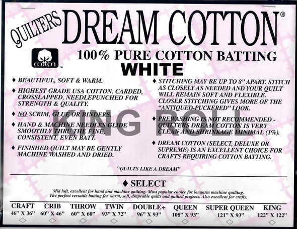"""Dream Cotton White - King Roll (Select Wt.) - 120"""" x 30yds"""