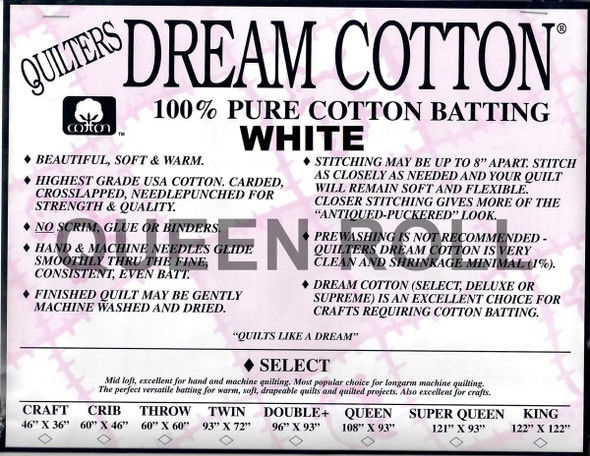 """Dream Cotton White - Queen Roll (Select Wt.) - 93"""" x 30yds"""