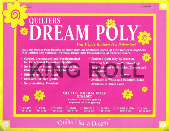 "Dream Poly - King Roll (Select Wt.) - 120"" x 25yds"