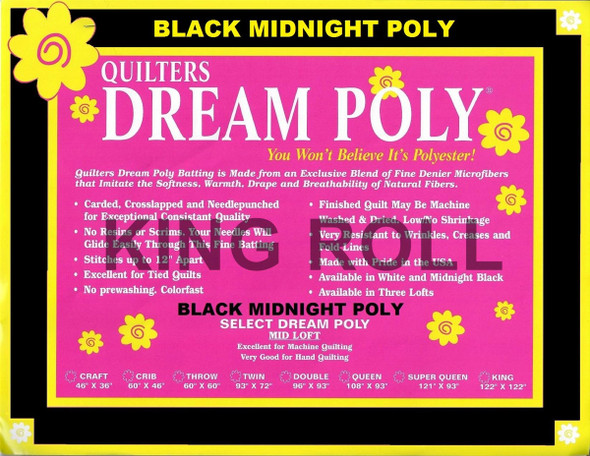 "Dream Poly Black - King Roll (Select Wt.) - 120"" x 25yds"