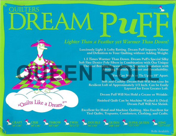 "Dream Puff - Queen Roll - 93"" x 25yds"