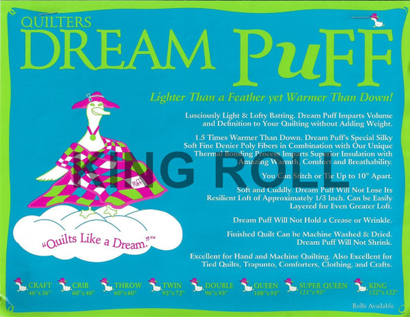 "Dream Puff - King Roll - 120"" x 20yds"