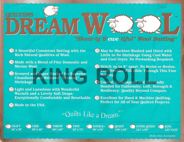 "Dream Wool - King Roll - 120"" x 20yds"