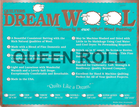 "Dream Wool - Queen Roll - 93"" x 25yds"