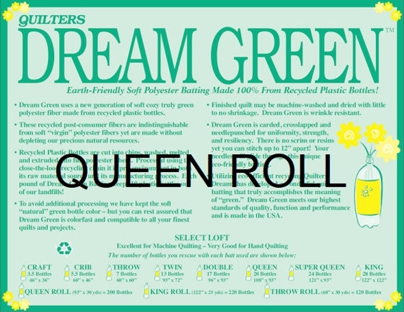 "Dream Green - Queen Roll - 93"" x 30yds"