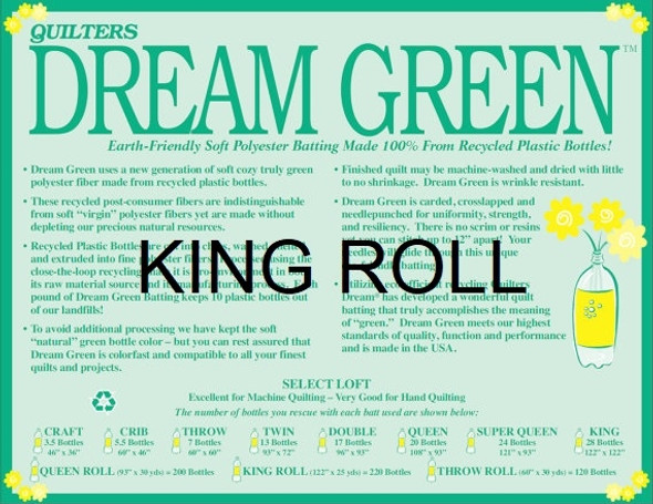 "Dream Green - King Roll - 120"" x 25yds"