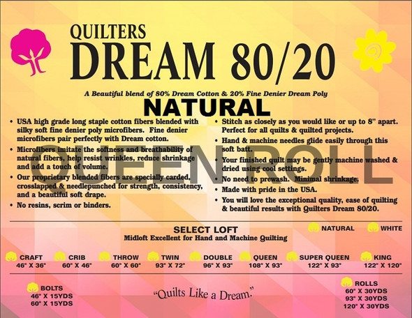 "Dream - 80/20 Natural - Queen Roll - 93"" x 30yds"