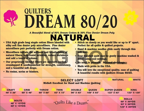 "Dream - 80/20 Natural - King Roll - 120"" x 30yds"